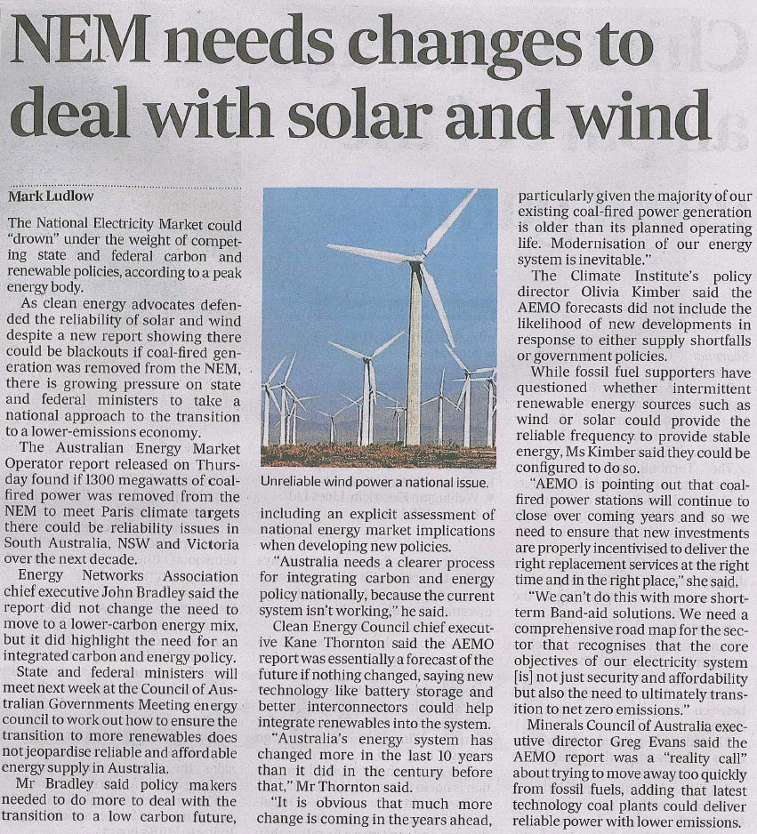 NEM needs changes to deal with solar and wind